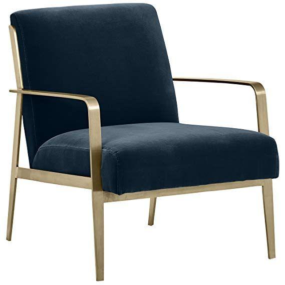Amazon Com Rivet Clover Modern Glam Velvet Brass Arm Accent Chair