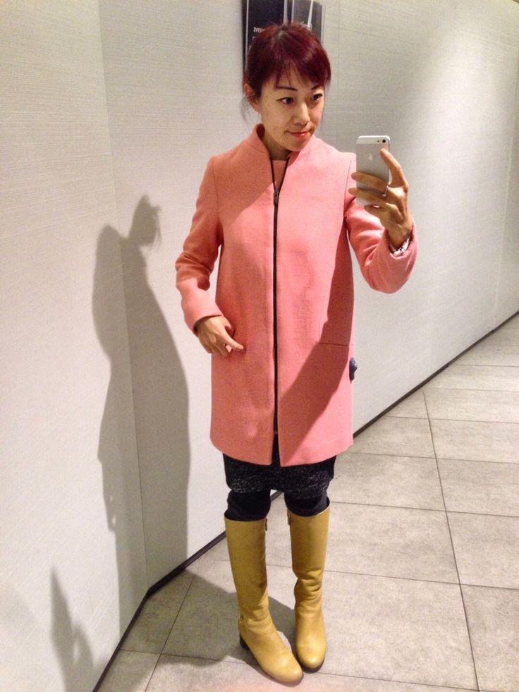 Zara pink woollen coat, mustard yellow boots, winter outfit