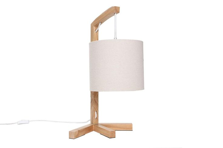 Lámpara de mesa diseño madera y pantalla lino LIVY - Miliboo