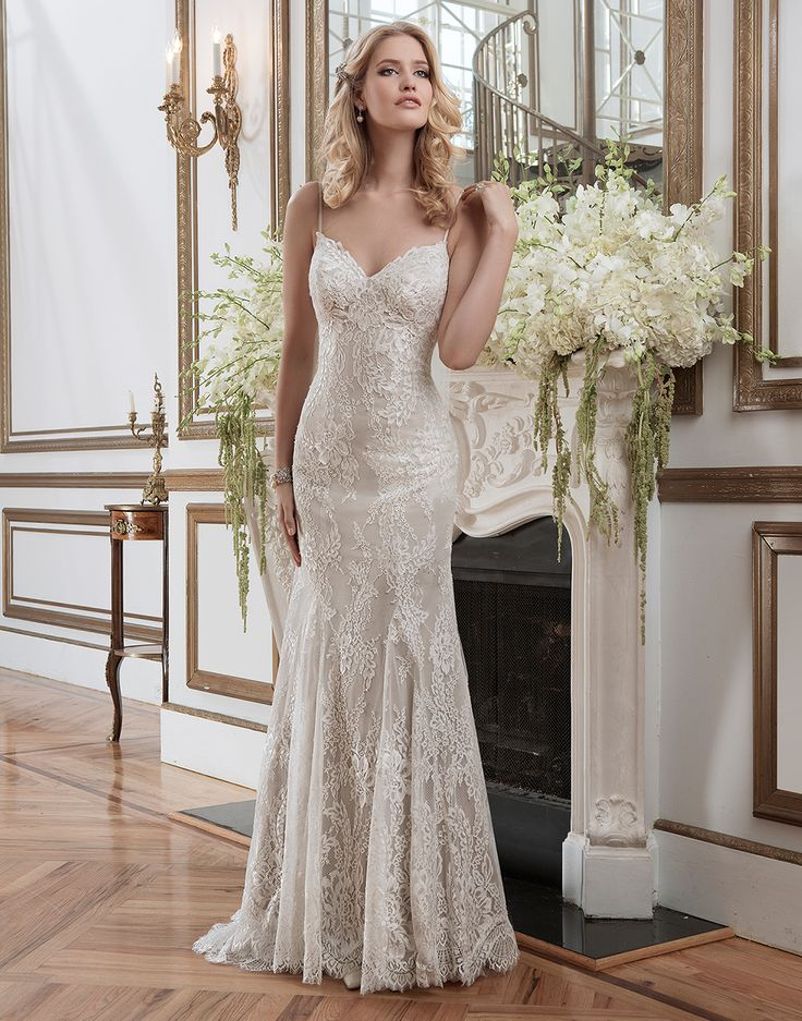 Justin Alexander Wedding Dresses Style 8791 Chantilly Lace Fit And Flare  Featuring A Spaghetti Straps Neckline
