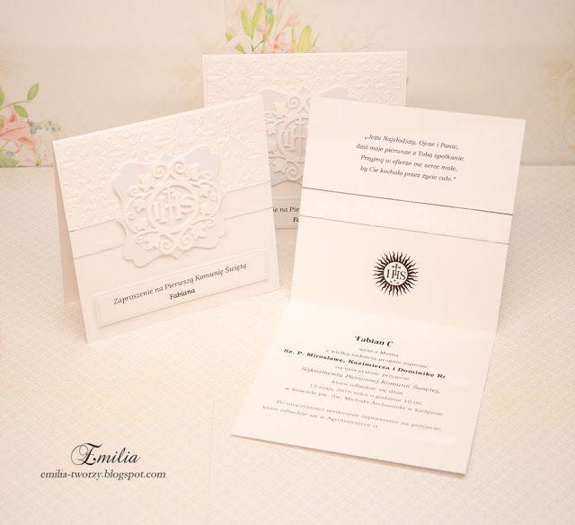 Delikatne zaproszenia komunijne z hostią/Zaproszenie na Pierwszą Komunię Świętą/Invitation Holy Communion