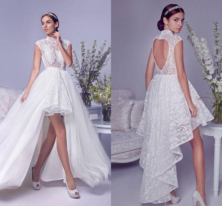 Fresh  Vintage High Neck Lace Wedding Dresses With Detachable Train Wedding Gowns Luxury Beach Plus Size Hi Low Bridal Dresses Cheap Weddings