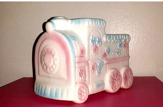 Vintage Baby Train Planter,Baby Vase,Pastel Train,Trinket Dish,Nursery,Baby Shower,Train,Nursery Decor,Shower Gift,Cake Topper,Kitschy Cute by JunkYardBlonde on Etsy