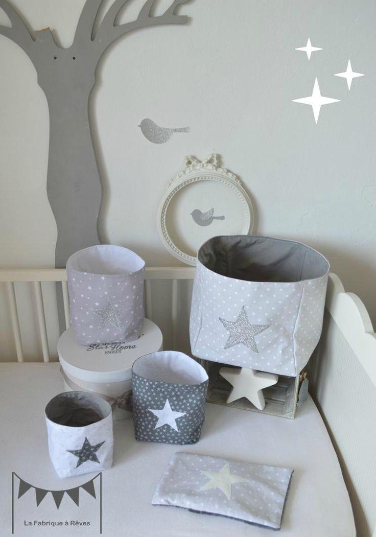 pochons rangement gris blanc argent paillette étoiles - décoration chambre bébé gris blanc argent 2