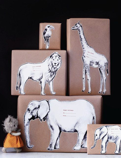 Wrapping Gift Idea, Animal Wrapping Paper, Craft Wrapping Paer via Sweet Paul - Winter 2013 - Page 77