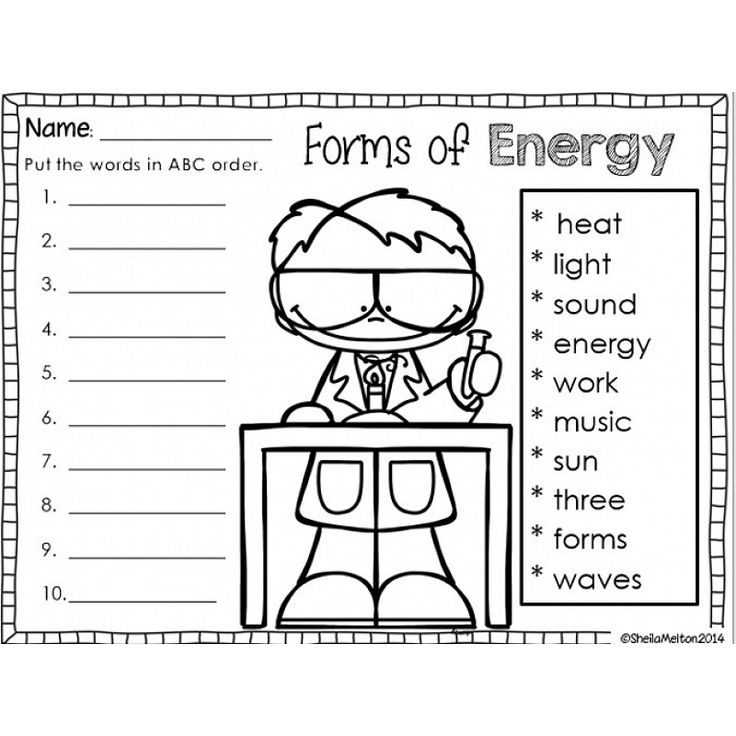 Image result for forms of energy worksheet first grade