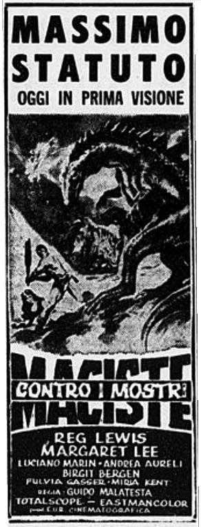 """Maciste contro i mostri (1962) """"Maciste contro i mostri"""" (1962) con Reg Lewis. #MoviePosters #Maciste"""