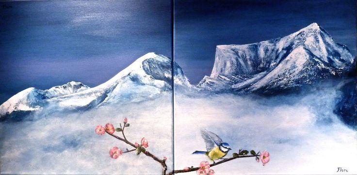 """""""MESANGE PRINTANIERE """" (Diptyque) - Peinture,  50x50 cm ©2011 par FLORE CASTAIN -                                                              Peinture contemporaine, Toile, Paysage, Mésange bleue, Montagne enneigée, printemps"""