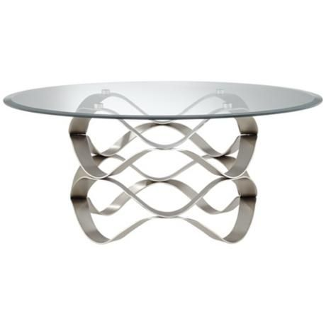 Brushed Silver Waves Round Glass Coffee Table -