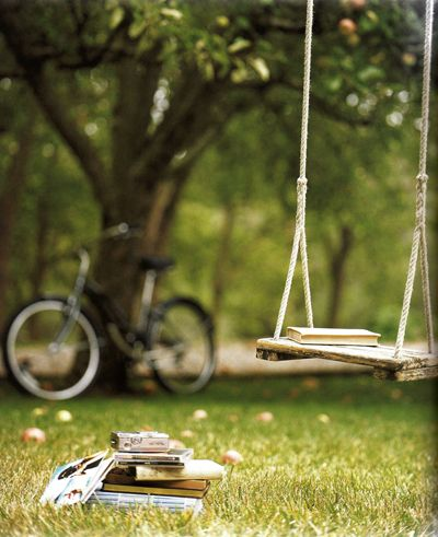 A swing from my grandparents' house, an orange tree from my time in Spain, my bike from Chicago, a stack of books from college. This is everything a photo should be from one stranger to another.