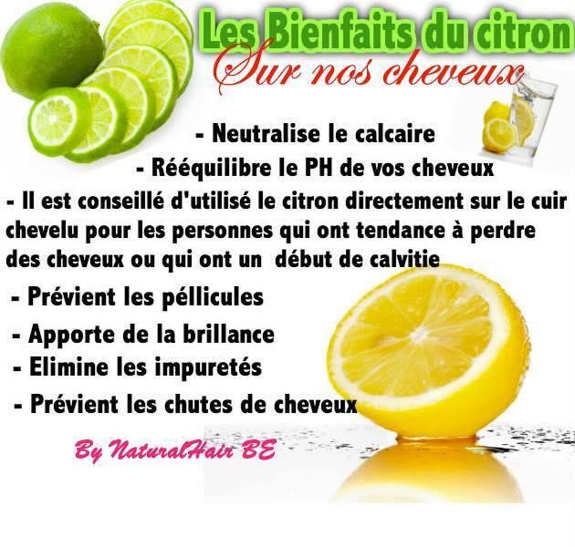 Bienfaits du citron sur les cheveux : anti-calcaire _ rééquilibre pH _ anti-calvitie _ anti-pellicules _ brillance _ anti-impuretés _ anti-chute