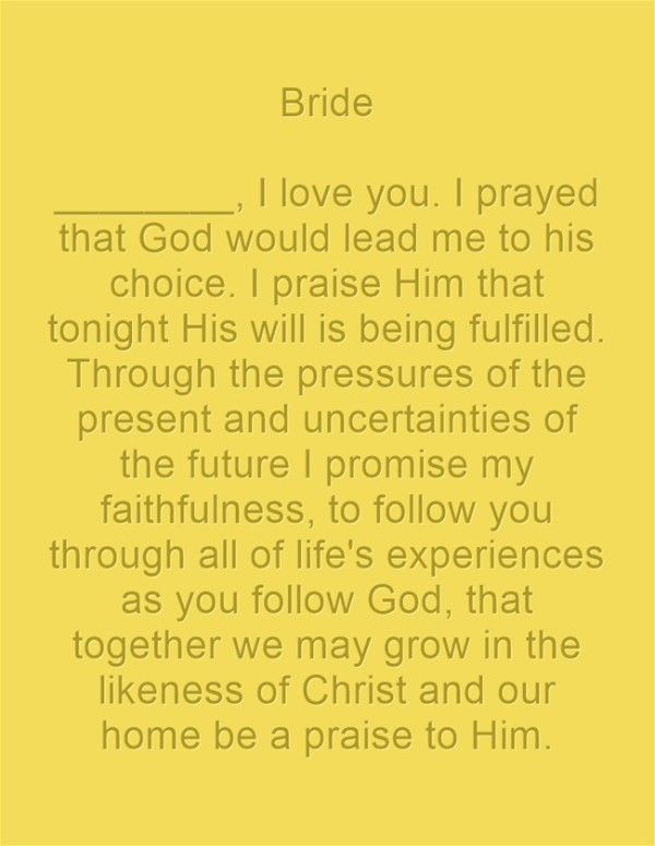 Christian Wedding Vows Bride I love you I                                                                                                                                                                                 More