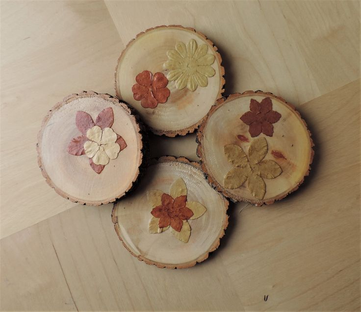 Wood Coasters set of 4/natural wood slice/applique flowers/woodland style/rustic home decor/country shabby chic style/housewarming gift by BirdOnABarbedWire on Etsy