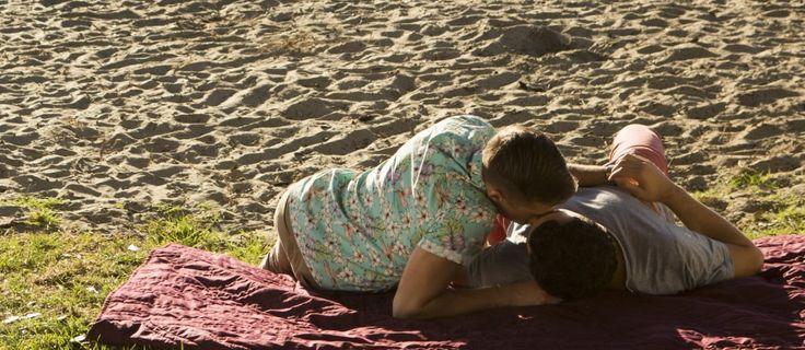 Kent (Joshua-McKenzie) and Levi (Leon Wadham) on the beach.