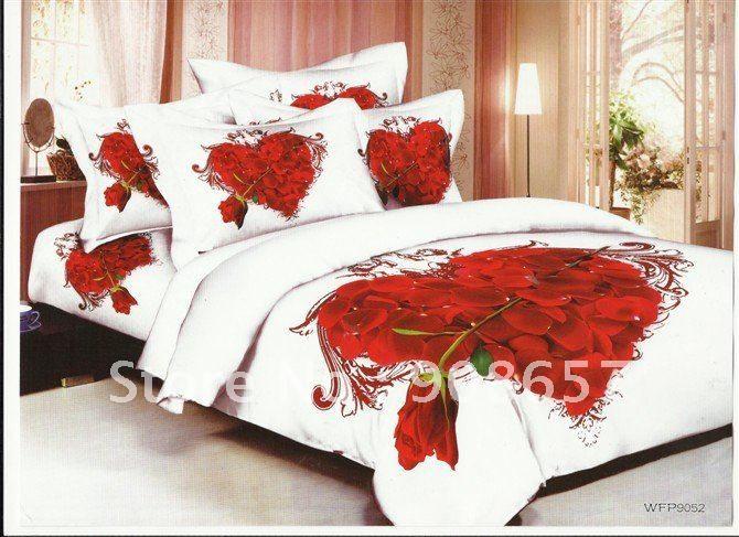 Красная роза цветок форме сердца скидка пуховое одеяло комплект 4 шт. для домашнего текстиля полный / королева постельного белья 4 шт. постельное белье