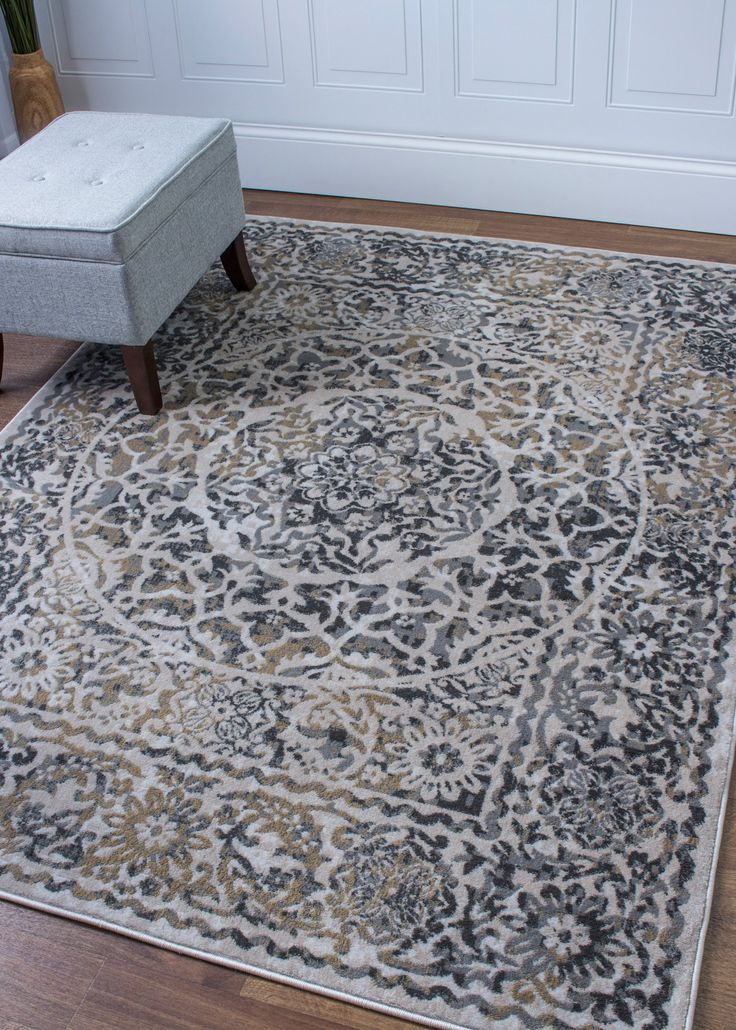 Transitional Rug Ivory & Gray High Quality Carpet Nylon