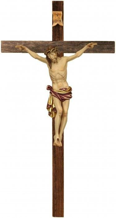 Kruzifix Dolomiten-Kreuz rustikal Holzschnitzerei 001