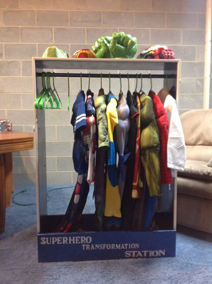 Super Hero transformation station. Dress up station for boys