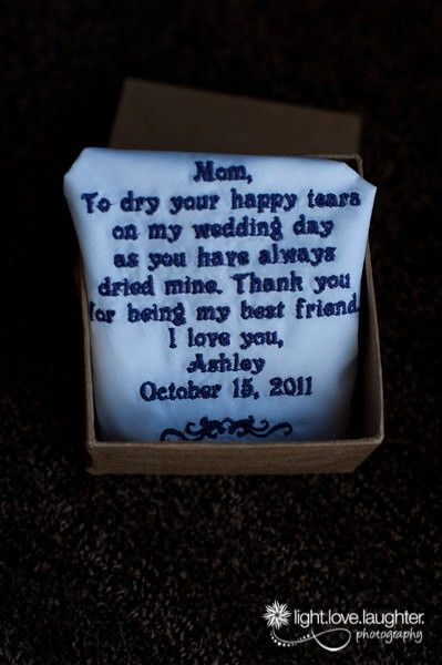 Gift to Mother of the Bride. So sweet!