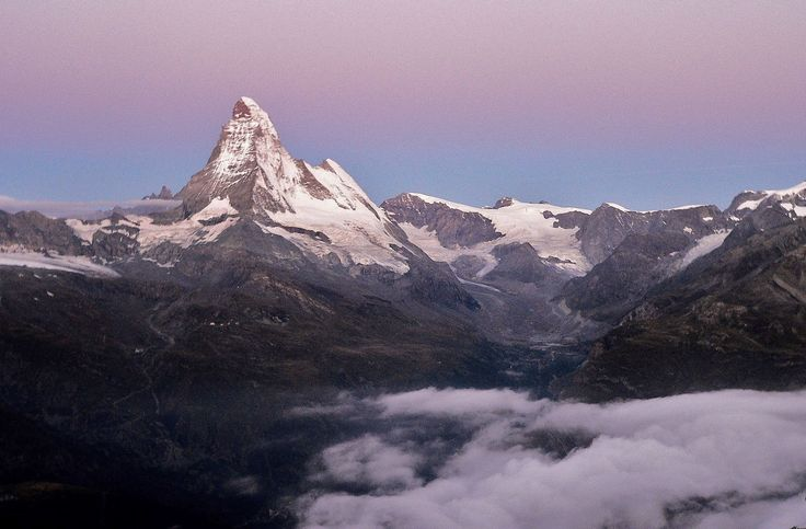 Dawn shot of the Pennine Valley, Zermatt, Switzerland.