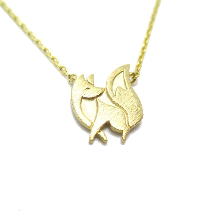 Super Cute Fox Silhouette Shaped Charm Necklace in Gold $12.50 #fox #animals #jewelry #necklaces #cute