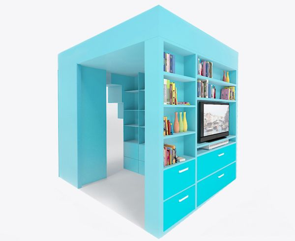 Bed Office Space Book Case And Wardrobe Combined In One