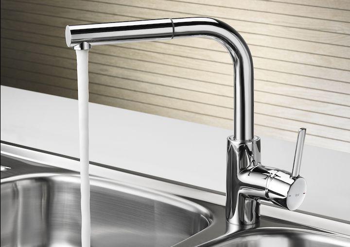 Mezclador monomando para cocina con caño extraible giratorio y función ducha para aclarado | Monomando | Grifería para cocina | Grifería | Productos | Roca