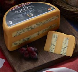 Long Clawson Hunstman - Layers of rich Double Gloucester and Blue Stilton are combined by hand to make this exceptional cheese. #Australia #Huntsman #cheese #doublegloucester #stilton #EnglishCheese #lovecheese