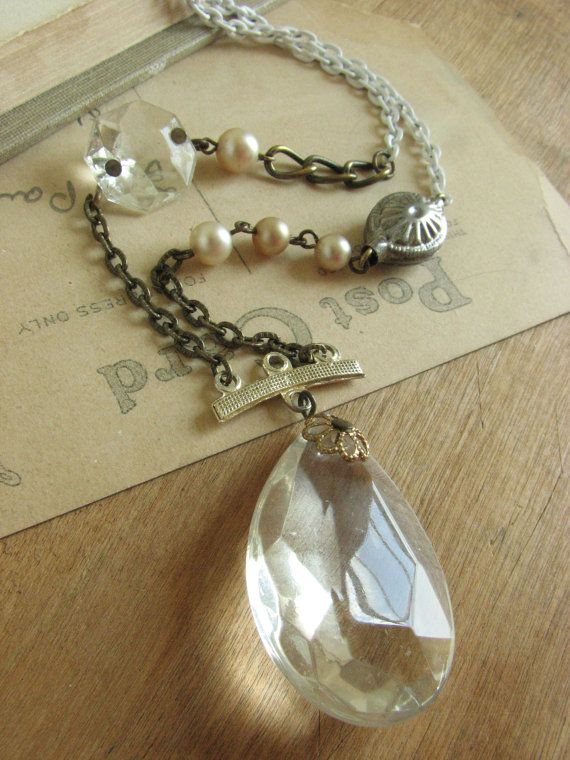 36 best images about chandelier crystals on pinterest old lamp shabby chic chandelier crystal assemblage necklace great for layering created by me at whybecause aloadofball Choice Image