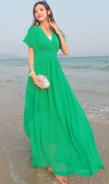 Cute Cheap V neck batwing beach dress green - Beach Dresses Online Shopping Free Shipping AHAI014843