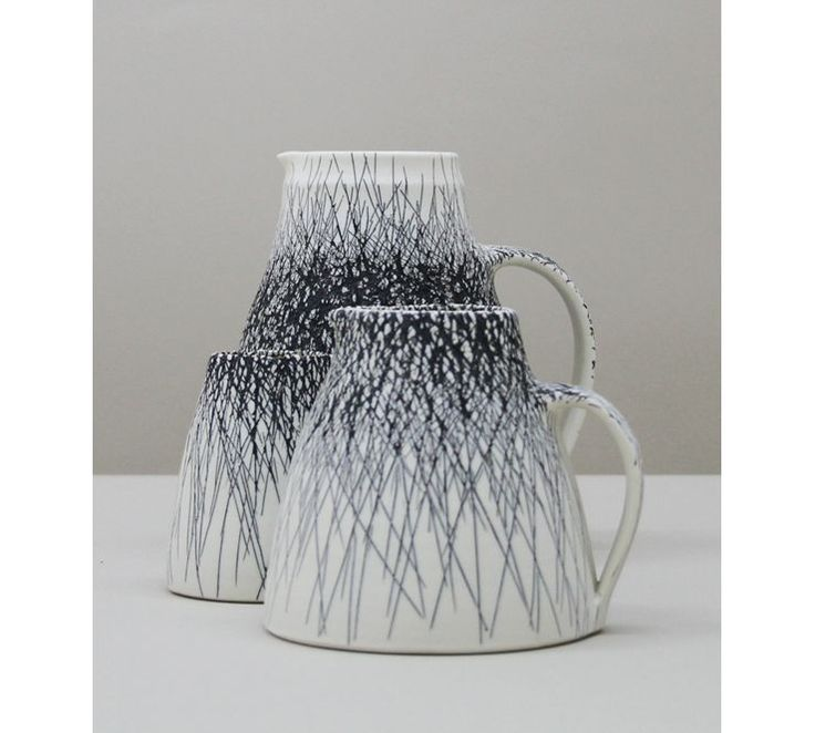 Nicola Tassie, Set of Three Porcelain with Black Iron Inlay Jugs, 2013, featured in Mud and Water at  www.rokebygallery.com until 7 March 2014