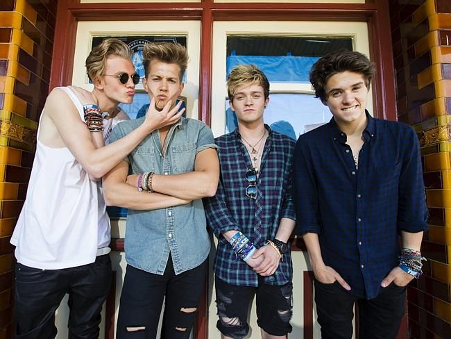 Tristan Evans, James McVey, Connor Ball, and Brad Simpson of British band The Vamps. Pict