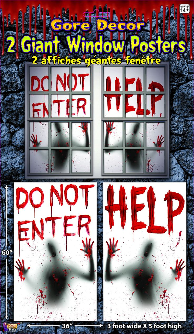2 Piece Giant Bloody Window Posters Halloween Party Decoration