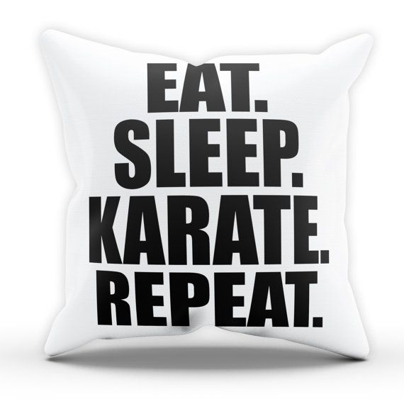 Eat Sleep Karate Pillow Cushion Cover Case by TheShedOutlet