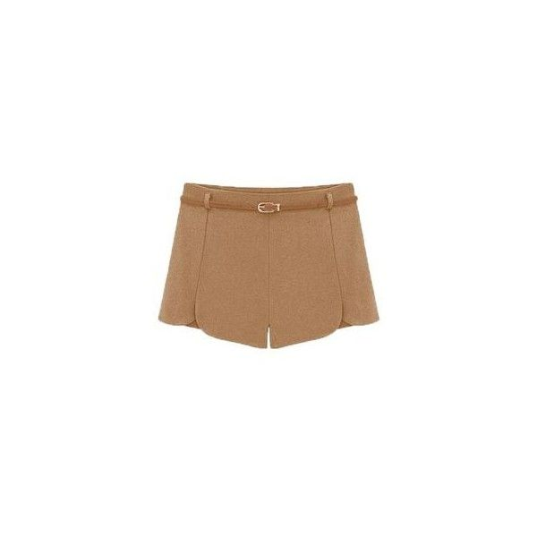 Woolen Shorts ($11) ❤ liked on Polyvore featuring shorts, women, green shorts and wool shorts