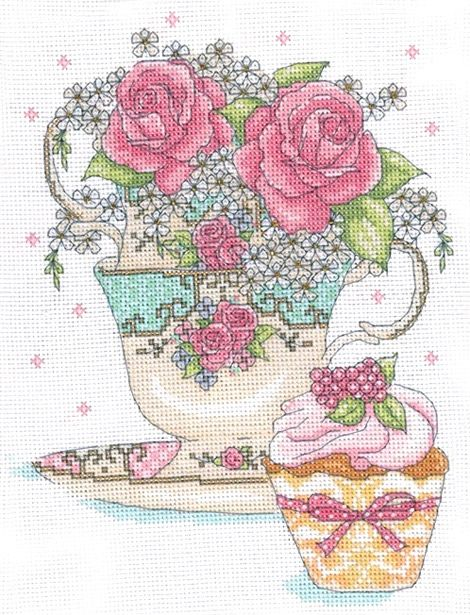 Tea Cup Roses Cross Stitch Kit   sewandso