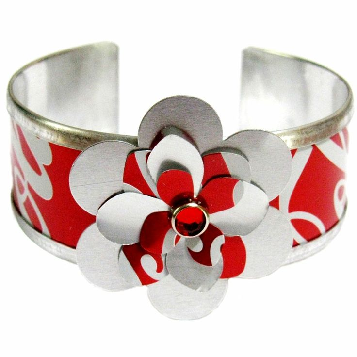 Recycled + Fair Trade = True Love!  Show off your support for eco-friendly style with this great eco cuff bracelet from Cangles, $16  #GreenProductStandard: 82 #MadeinUSA #Recycled #FairTrade #EcoFriendly  Learn more: http://www.buygreen.com/womensretroflowerecocuff.aspx