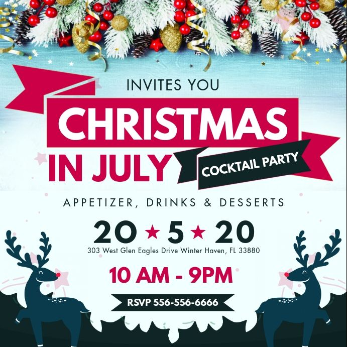 Christmas In July Party Instagram Post Invite Christmas In July Summer Party Invitations Party Invite Template