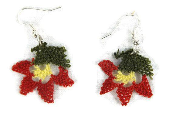 Crochet Earrings, Flower Earrings,Dangle Earrings, Fiber Earrings,Oya Earrings,Crochet Jewelry,Christmas Gift For Her
