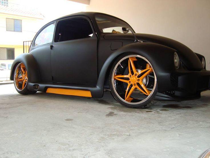 Beetle matte black with orange rims | Vw bugs | Pinterest