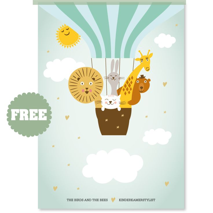 Free download (boy or girl) poster by The Birds and the Bees   Kinderkamerstylist.nl