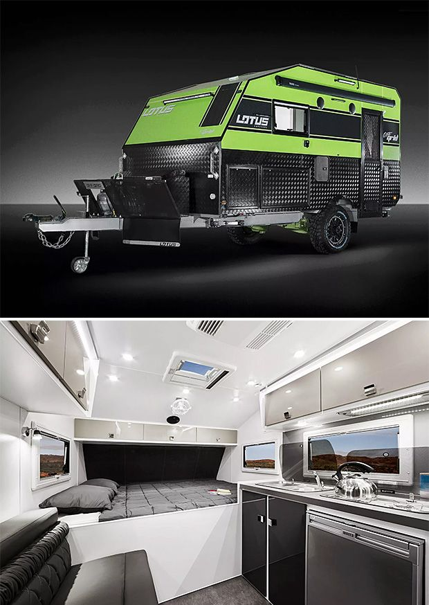 Options for off-road camping just keep getting better. The latest entry is Australia's Lotus Campers Off Grid model, a compact (14 feet) merges a rugged exterior & off-road features with a luxurious and well-designed interior that features a modern kitchen, bathroom & Italian leather sofa as well as a rooftop AC unit. Power for the LED lighting, sound, & entertainment system comes from a pair of 150-watt solar panels.