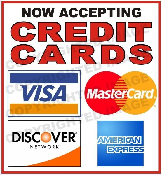 now accepting credit cards
