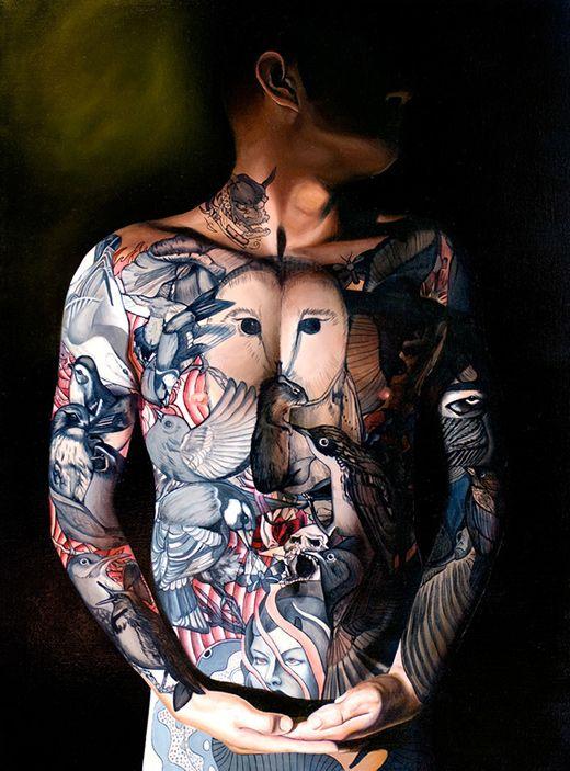 Paintings by Jeff Musser: Tattoo Ideas, Oil Paintings, Birds Tattoo, Jeff Musser, Awesome Tattoo, Tattoo Inspiration, Body Art, Owl Tattoo, A Tattoo