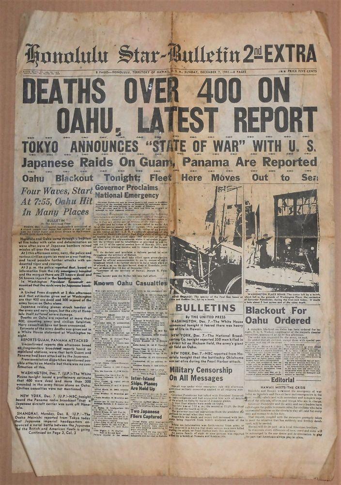 DECEMBER 7, 1941 HONOLULU STAR HAWAII NEWSPAPER WWII PEARL HARBOR ATTACK