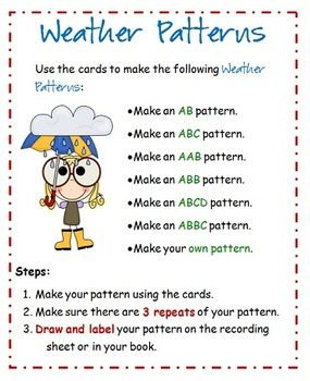 This freebie is a patterning activity. Students use the cards to create the listed patterns, with 3 repeats, and then record in their books or on t...