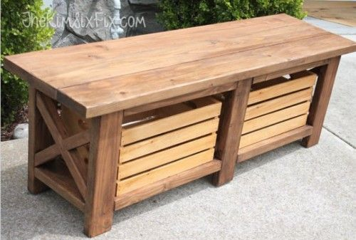 DIY X-Leg Wooden Bench With Crate Storage | Shelterness...love this!!  Would be awesome at the bottom of my bed.  Could make all, but the crates out of pallet wood!