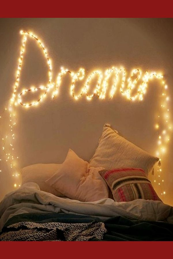 Use Fairy Lights Or Christmas Lights As Cheap Wall Decor In Your Room How To Decorate Your Room Without Buyi Bedroom Diy Small Room Design Fairy Lights Decor