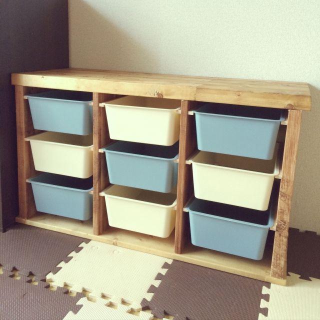 子ども思いのダイソースクエアボックス収納棚実例 | RoomClip mag | 暮らしとインテリアのwebマガジン