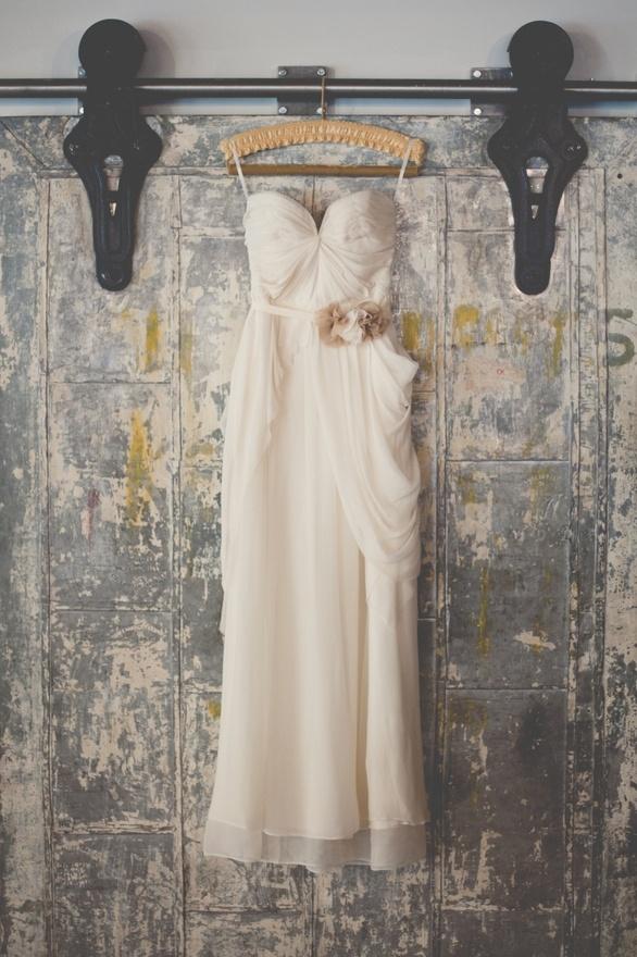 very cool shot of a wedding dress